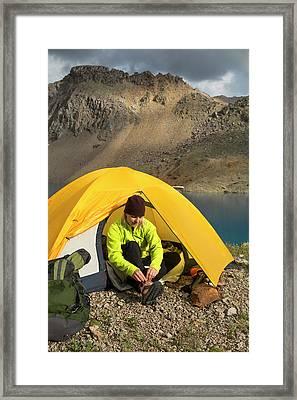 A Woman Camping Near Blue Lake, San Framed Print