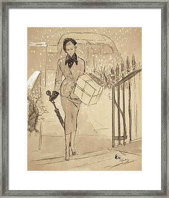 A Woman Carrying A Gift In The Snow Wearing Framed Print by Carl Oscar August Erickson
