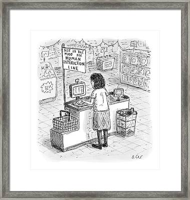 A Woman Checks Out Her Groceries At The Line Framed Print