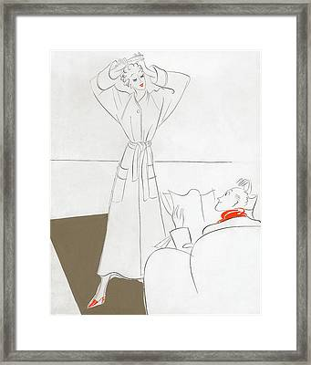 A Woman Combing Her Hair Framed Print
