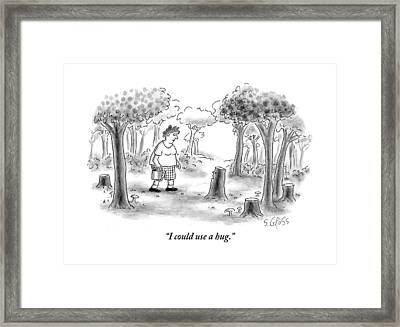 A Woman Comes Across A Sad Tree Stump Who Asks Framed Print