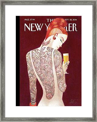 A Woman Covered In Tattoos Looks Framed Print by Lorenzo Mattotti