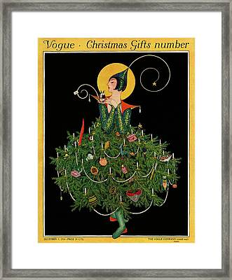 A Woman Dressed As A Christmas Tree Framed Print by Artist Unknown