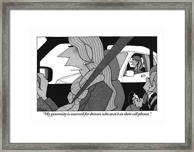 A Woman Driving A Car Speaks.  Her Kid Is Sitting Framed Print