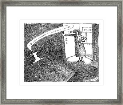 A Woman Enters A Motel Room And Confronts Framed Print