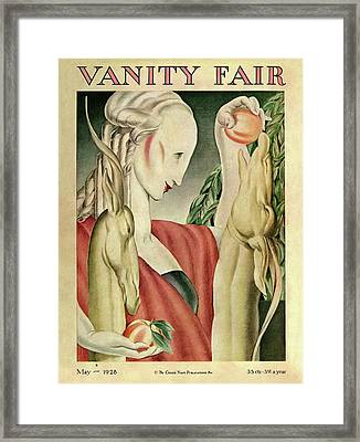 A Woman Feeding Apples To A Deer Framed Print by J Franklin Whitman Jr