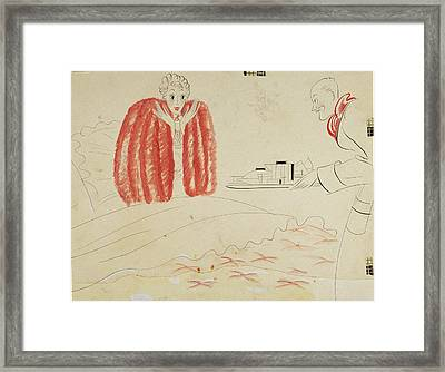 A Woman Getting Breakfast In Bed From Her Husband Framed Print