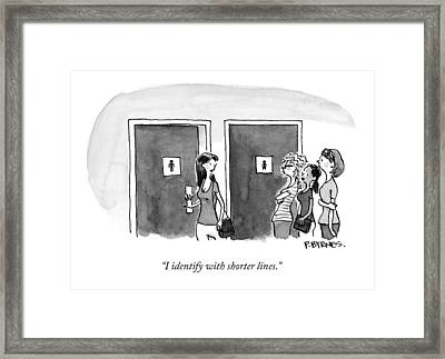 A Woman Going Into The Men's Restroom Framed Print by Pat Byrnes