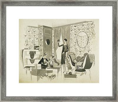A Woman Going Through Her Wardrobe With Her Maid Framed Print