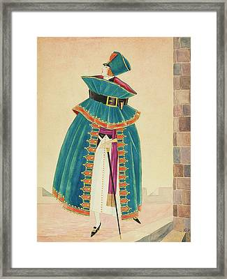A Woman Holding A Cane Framed Print
