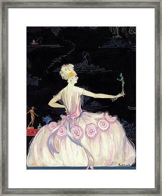 A Woman Holding A Figurine Framed Print