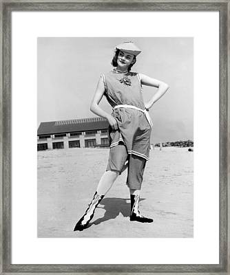 A Woman In A 1914 Swim Suit Framed Print by Underwood Archives
