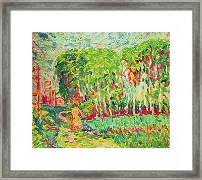 A Woman In A Birch Wood Framed Print