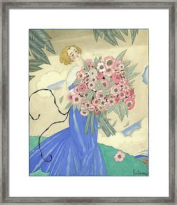 A Woman In A Blue Dress Holding A Bouquet Framed Print