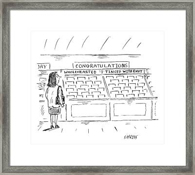 A Woman In A Greeting Card Aisle Looks At Two Framed Print by David Sipress