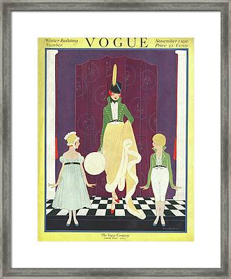 A Woman In A Military Style Gown Framed Print