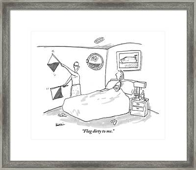 A Woman In Bed Speaks To Her Husband Who Framed Print