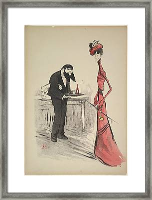 A Woman In Red And A Waiter Framed Print