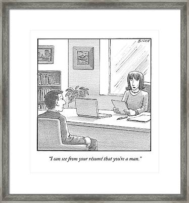 A Woman Interviewing A Man Reads His Resume Framed Print by Harry Bliss