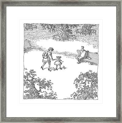 A Woman Is Seen Guiding Her Daughter Framed Print