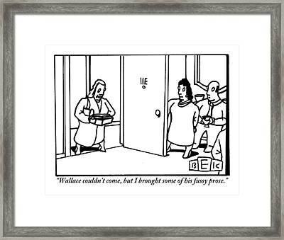 A Woman Is Seen Standing At A Couple's Door Framed Print