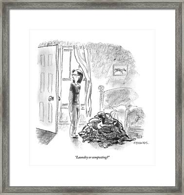 A Woman Is Seen Standing In A Bedroom Next Framed Print