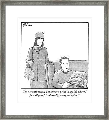 A Woman Is Standing And Dressed To Go Outdoors Framed Print