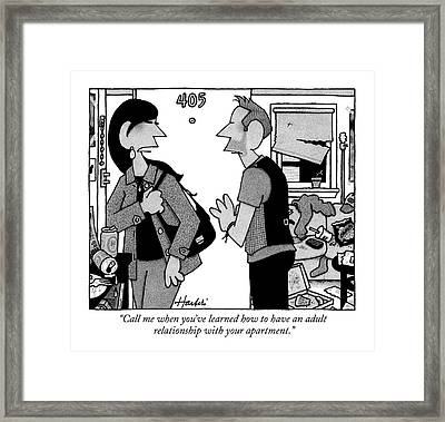 A Woman Leaves A Man's Apartment Framed Print