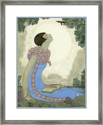A Woman Looking At A Small Bird Framed Print by Georges Lepape