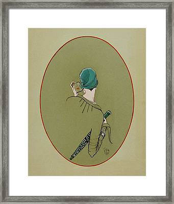 A Woman Looking In A Mirror Framed Print by Porter Woodruff