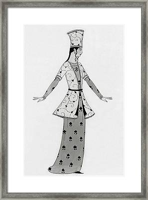 A Woman Modeling An Elaborate Costume Framed Print by Claire Avery