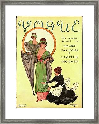A Woman Modeling And A Maid Assisting Framed Print by Helen Dryden