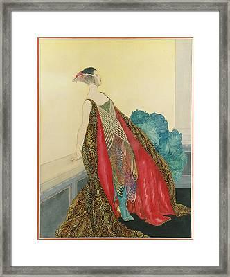 A Woman On A Balcony Framed Print