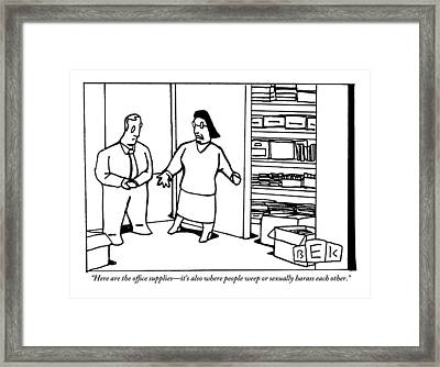 A Woman Opens The Door To A Supply Closet Framed Print
