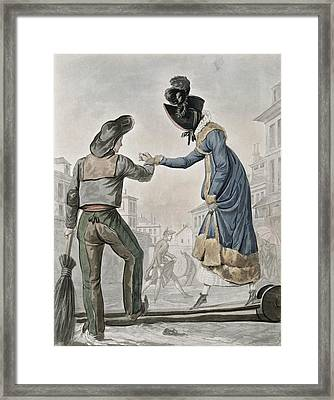 A Woman Paying A Street Sweeper Framed Print