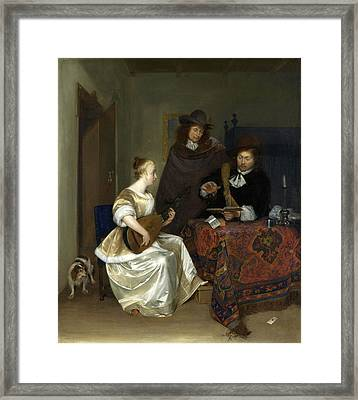 A Woman Playing A Theorbo To Two Men Framed Print by Gerard ter Borch