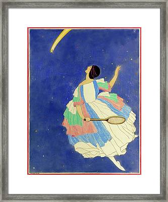 A Woman Playing Tennis In A Starscape Framed Print
