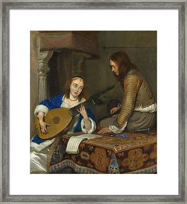 A Woman Playing The Theorbo-lute And A Cavalier Framed Print by Gerard ter Borch