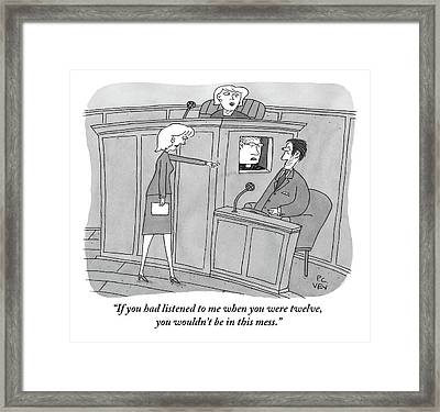 A Woman Points To A Man In A Court Room. Next Framed Print