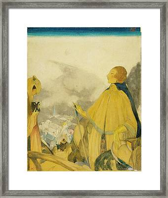 A Woman Posing Overlooking A Village Framed Print