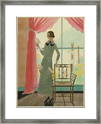 A Woman Reading A Letter Framed Print by Harriet Meserole