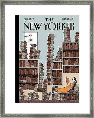 A Woman Reclines In A Room Full Of Books Framed Print