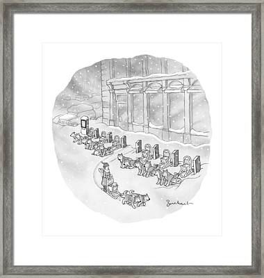 A Woman Rents A Dog Sled Out Of A Row Of Kiosks Framed Print