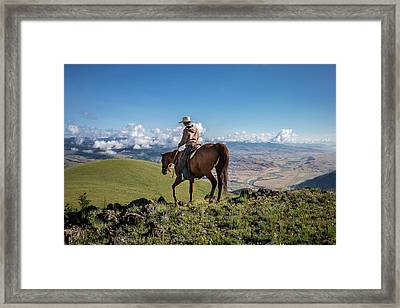 A Woman Rides The Range Framed Print