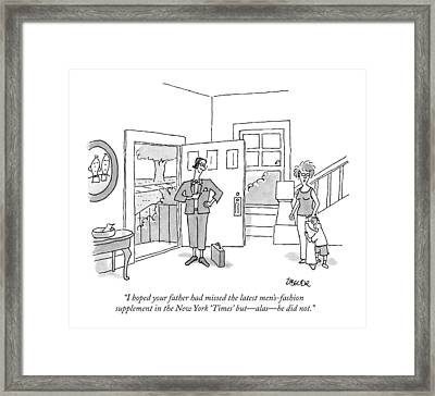 A Woman Says To Her Scared Son Framed Print