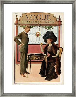 A Woman Shopping Framed Print