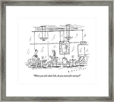 A Woman Sits In A Coffee Lounge With A Man Framed Print