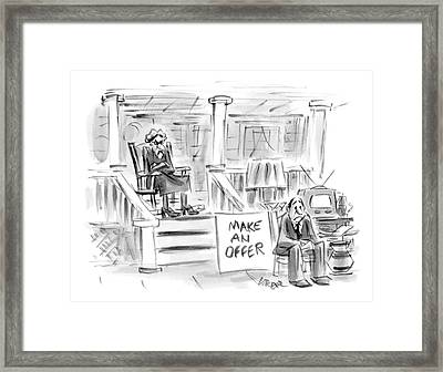 A Woman Sitting On A Porch Is Selling Her Husband Framed Print by Lee Lorenz