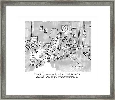 A Woman Smokes A Cigarette And Talks On The Phone Framed Print by Michael Crawford