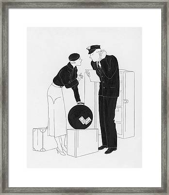 A Woman Speaking To A Customs Officer Framed Print